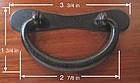 3 3/4 inch Japanese Metal Hardware Warabite Handle