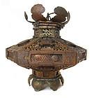 Japanese Antique Gilt Copper Hanging Temple Lantern