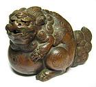 Japanese Antique Bizen Ware Fu-dog Waterdropper