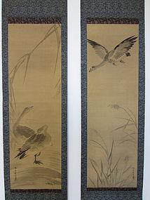 Antique Diptych of Geese by Kano Dohaku Chikanobu