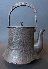 Japanese Antique Iron Tetsubin with Shells
