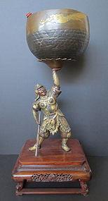 Japanese Gilt Bronze Samurai Warrior Holding Bell Bowl
