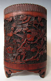 Chinese Antique Carved Bamboo Brush Pot
