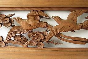 Large Japanese Antique Ranma (Transom) Birds in Flight