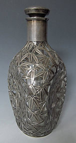 Japanese Sterling Silver Overlaid Glass Decanter
