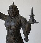Antique Japanese Bronze Bishamonten