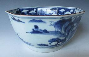 Antique Imari Sometsuke Octogonal Bowl