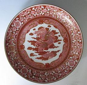 Antique Red Kutani Dish with Motif of Dragon