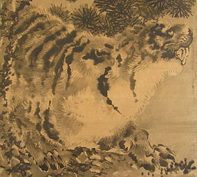 Japanese Painting of Tiger and the Moon
