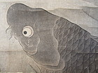 Japanese Antique Scroll Painting of Fish and Waterfall