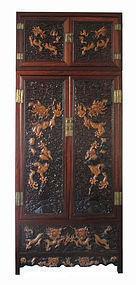 Chinese Large Carved Hardwood Dragon Cabinet