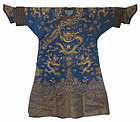 Chinese Gold and Blue Silk Dragon Robe