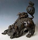 Edo Age Bronze Japanese incensor of Fu Dog playfully wrestling