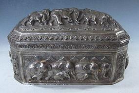Burmese Repousse Silver Box