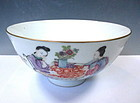 Antique Daoguang Porcelain Bowl With Feminine Imagery