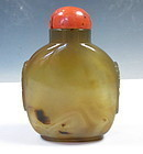 Antique Chinese Agate Snuff Bottle With Coral Topper