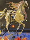 Nakayama Woodblock Print of a Horse and Poppies