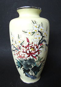 Japanese Cloisonne Vase With Flowers