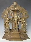 Antique Indian Bronze Vishnu and Consorts Altar