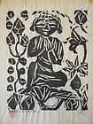 Japanese Woodblock Print of Buddha by Munakata