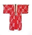 Japanese Red Shibori Under Kimono With Flowers