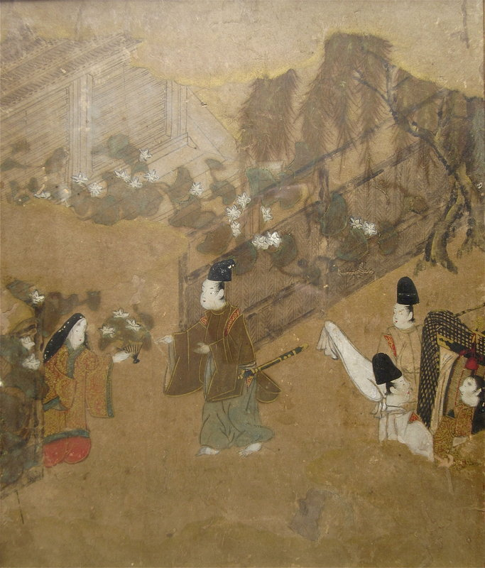 Antique Japanese Painting from The Tale of Genji