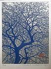 Japanese Print of Embossed Tree by Haku Maki