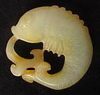 Antique Chinese Yellow Jade Fish