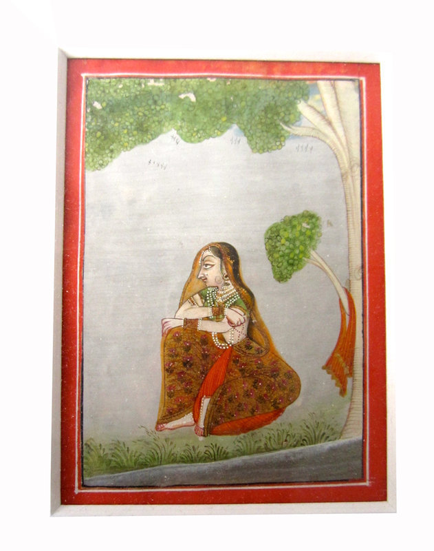 Antique Indian Miniature Painting of Woman under Tree