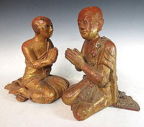 Antique Pair of Burmese Buddhist Statues
