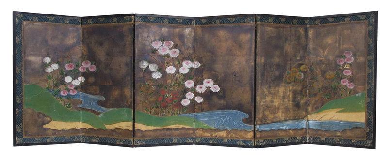 Japanese Small Byobu Screen Painting of Flowers