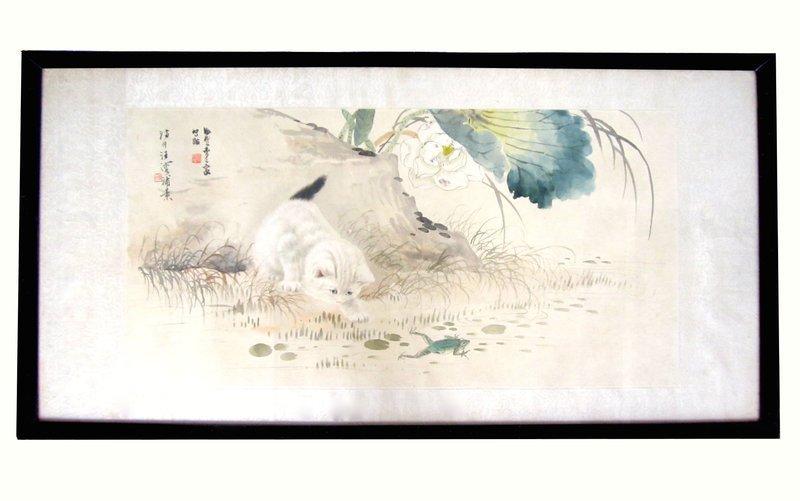 "Chinese ""Cat"" Painting by Cao, Ke Jia and Wang, Rong"