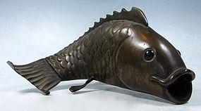 Charming Japanese Bronze Koi Fish