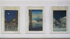 Japanese Set of 3 Woodblock Prints by Hiroshige
