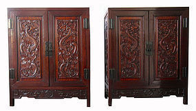 Antique Pair of Chinese Rosewood Cabinets with Dragons