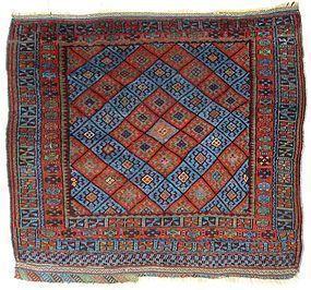 Antique Kurdish Blue Diamond Carpet