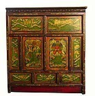 Unusual Antique Tibetan hand painted Wood Cabinet