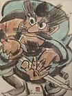 Japanese Scroll Painting of Warrior by Yoshitoshi Mori