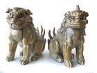 Japanese Pair of Edo Period Wooden Shrine Guardian Fu-dogs