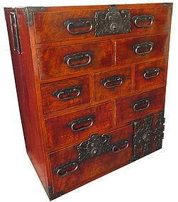 Antique Japanese Unusual lacquered Burl Keyaki Tansu