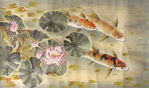 Chinese Scroll Painting of Koi Fish by Zhao Dao Ang