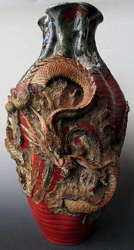 Incredible Japanese Meiji Sumidagawa Vase w/ Dragon