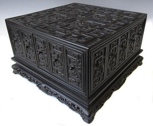 Unusual Chinese Hardwood Wood Carved Seal Treasure Box