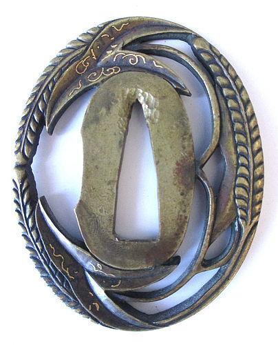 Japanese Antique Bronze Tsuba with Grain