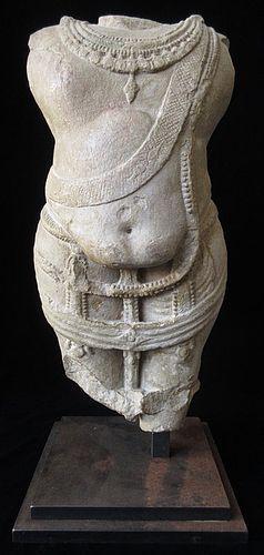 Incredible Indian 12th Century Stone Vamana Torso Statue