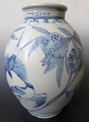 Antique Korean Large Porcelain Blue and White Vase