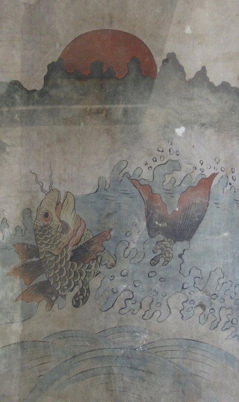 Antique Korean Framed Fish Painting