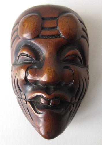 Antique Japanese Boxwood Noh Mask Netsuke
