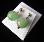 Chinese Jade Drop Earrings w/ 14K Gold