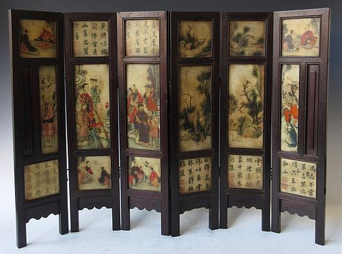 Antique Chinese Hardstone Painted Screen
